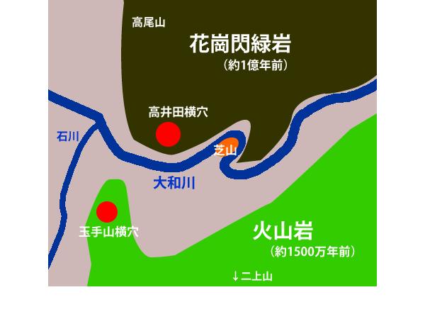 奈良の箸墓古墳などに使われた、柏原・芝山産の石
