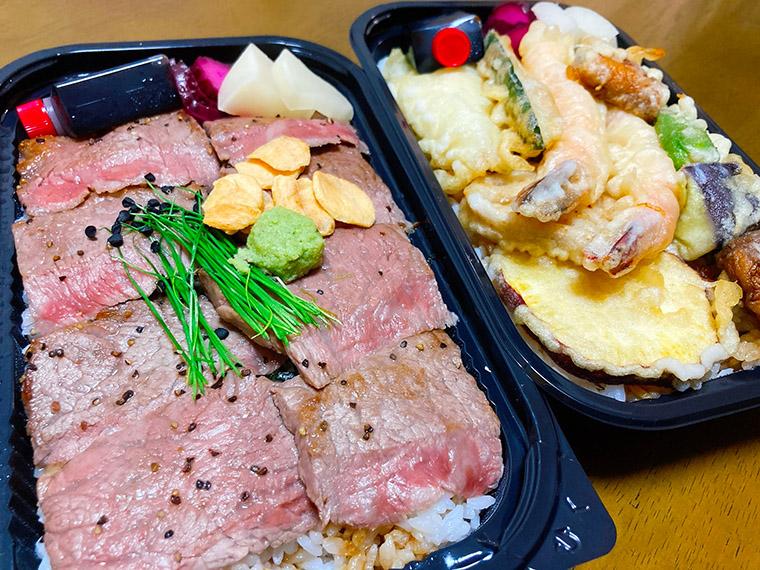 和牛ロースト重と天ぷら丼